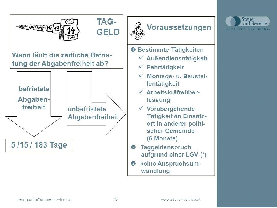 www.steuer-service.at15 ernst.patka@steuer-service.at TAG- GELD Wann läuft die zeitliche Befris- tung der Abgabenfreiheit ab? 5 /15 / 183 Tage Vorauss
