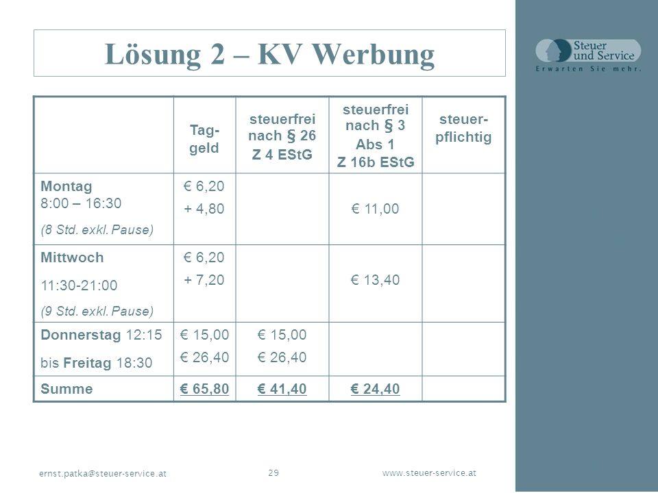www.steuer-service.at29 ernst.patka@steuer-service.at Lösung 2 – KV Werbung Tag- geld steuerfrei nach § 26 Z 4 EStG steuerfrei nach § 3 Abs 1 Z 16b ES