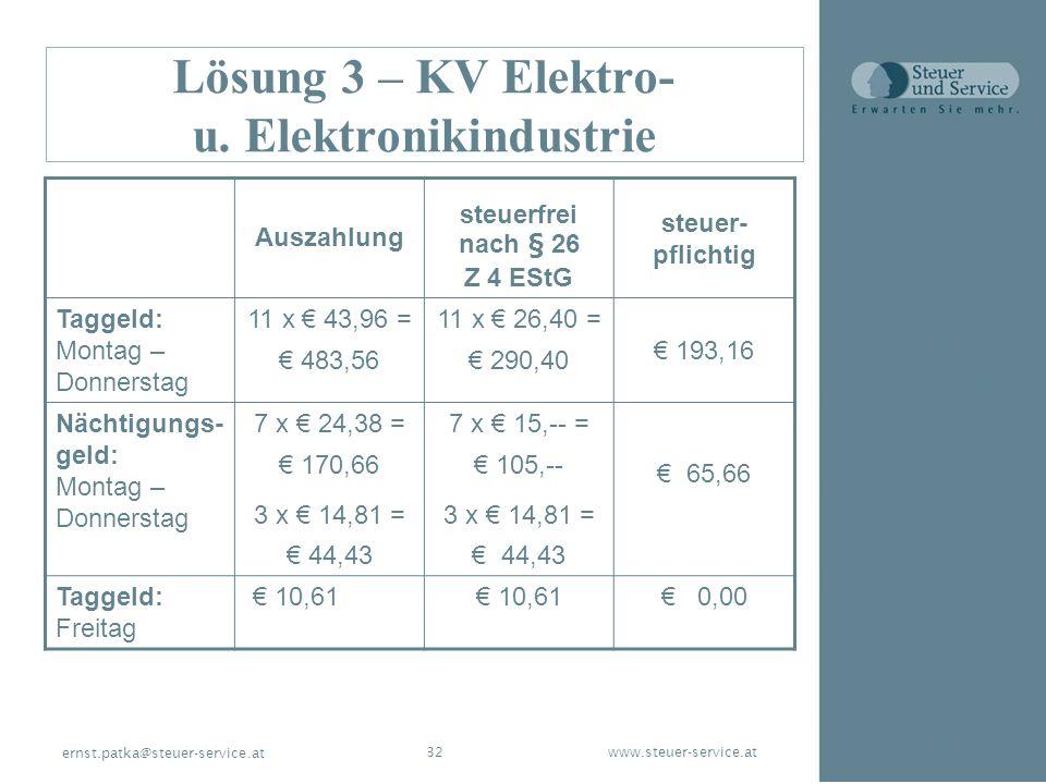 www.steuer-service.at32 ernst.patka@steuer-service.at Lösung 3 – KV Elektro- u. Elektronikindustrie Auszahlung steuerfrei nach § 26 Z 4 EStG steuer- p