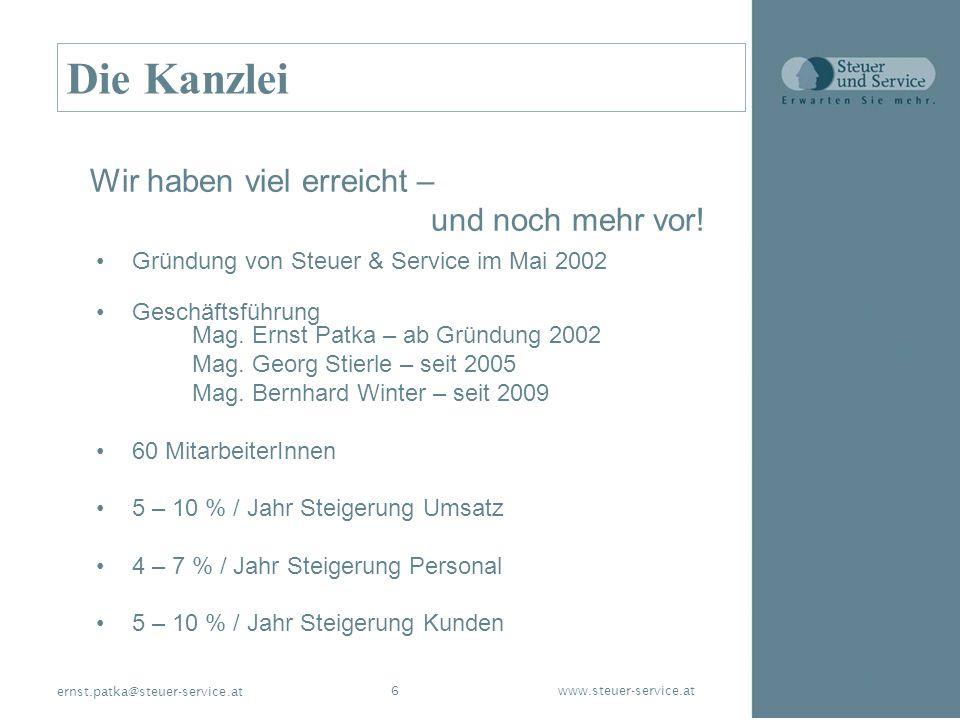 www.steuer-service.at6 ernst.patka@steuer-service.at Die Kanzlei Gründung von Steuer & Service im Mai 2002 Geschäftsführung Mag. Ernst Patka – ab Grün
