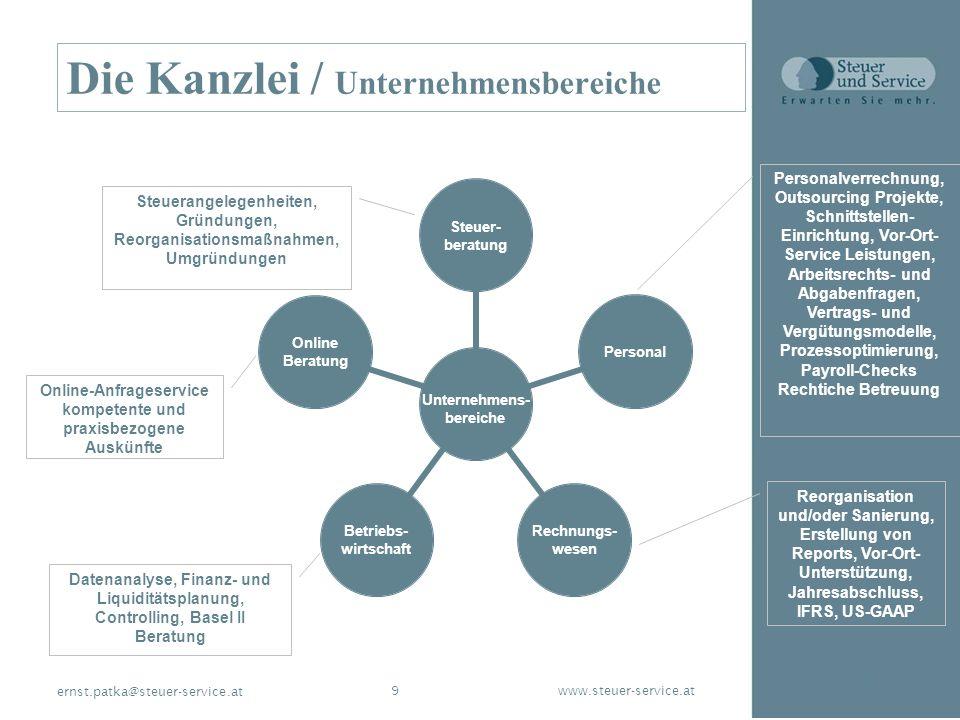 www.steuer-service.at9 ernst.patka@steuer-service.at Die Kanzlei / Unternehmensbereiche Steuerangelegenheiten, Gründungen, Reorganisationsmaßnahmen, U