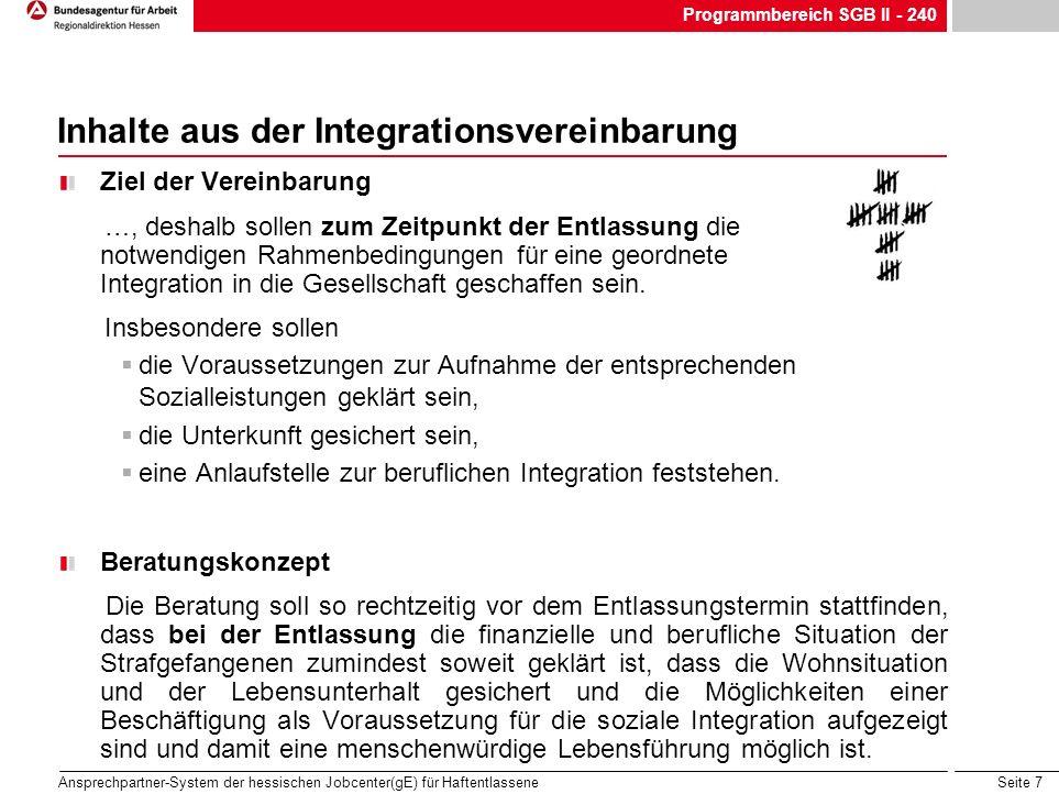 Seite 7 Ansprechpartner-System der hessischen Jobcenter(gE) für Haftentlassene Inhalte aus der Integrationsvereinbarung Ziel der Vereinbarung …, desha