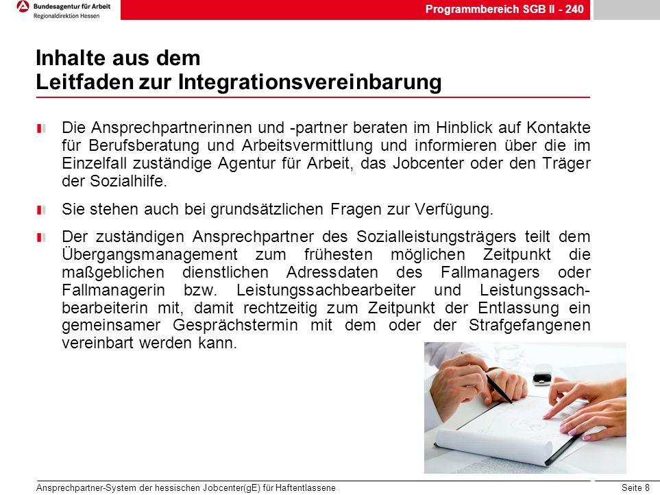 Seite 8 Ansprechpartner-System der hessischen Jobcenter(gE) für Haftentlassene Inhalte aus dem Leitfaden zur Integrationsvereinbarung Die Ansprechpart