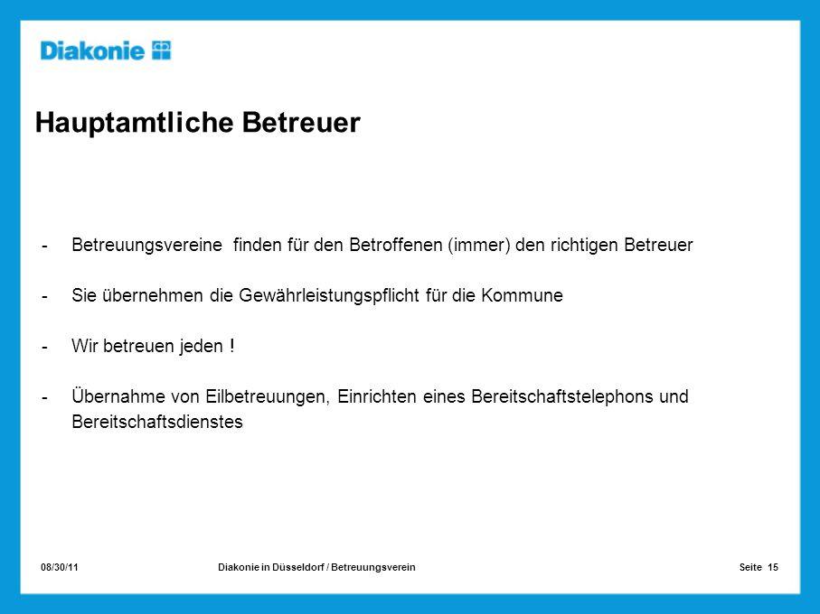 08/30/11 Seite 15Diakonie in Düsseldorf / Betreuungsverein Hauptamtliche Betreuer -Betreuungsvereine finden für den Betroffenen (immer) den richtigen