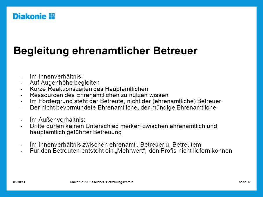 08/30/11 Seite 6Diakonie in Düsseldorf / Betreuungsverein Begleitung ehrenamtlicher Betreuer Im Innenverhältnis: Auf Augenhöhe begleiten Kurze Reaktio