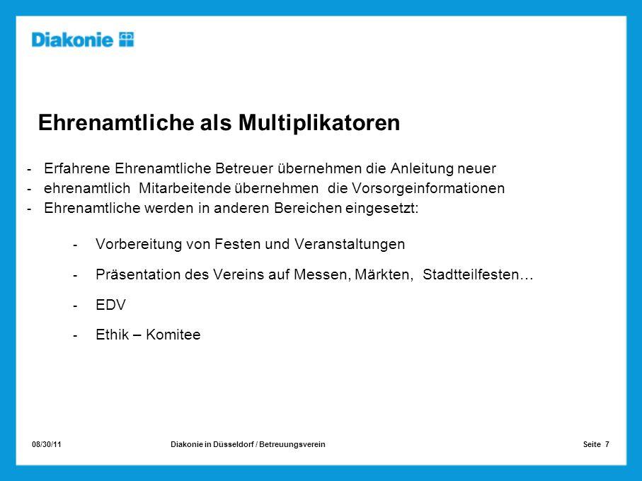 08/30/11 Seite 7Diakonie in Düsseldorf / Betreuungsverein Ehrenamtliche als Multiplikatoren Erfahrene Ehrenamtliche Betreuer übernehmen die Anleitung