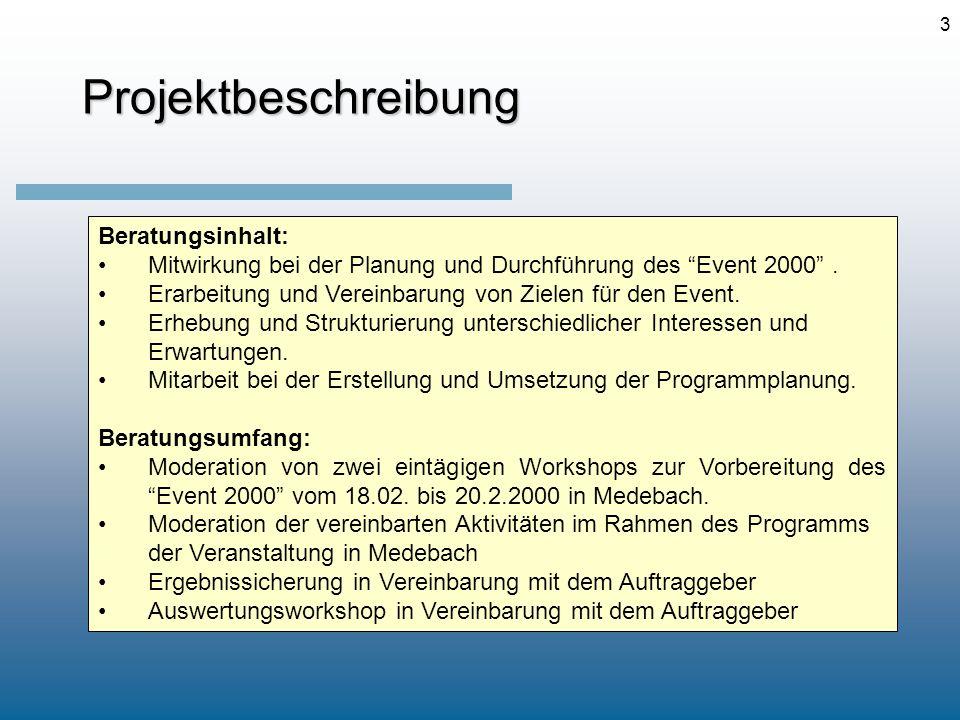 3Projektbeschreibung Beratungsinhalt: Mitwirkung bei der Planung und Durchführung des Event 2000. Erarbeitung und Vereinbarung von Zielen für den Even
