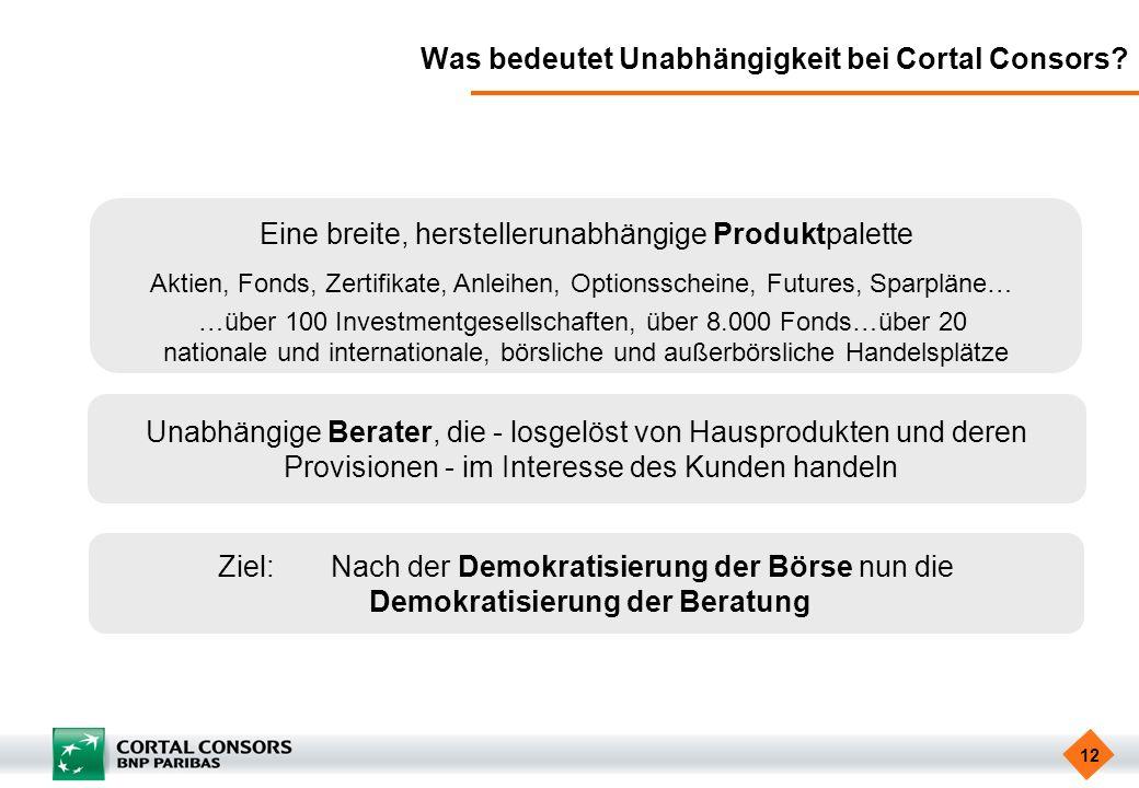 12 Was bedeutet Unabhängigkeit bei Cortal Consors? Eine breite, herstellerunabhängige Produktpalette Aktien, Fonds, Zertifikate, Anleihen, Optionssche
