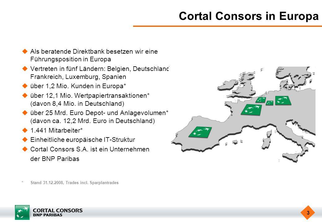 3 Cortal Consors in Europa Als beratende Direktbank besetzen wir eine Führungsposition in Europa Vertreten in fünf Ländern: Belgien, Deutschland, Fran