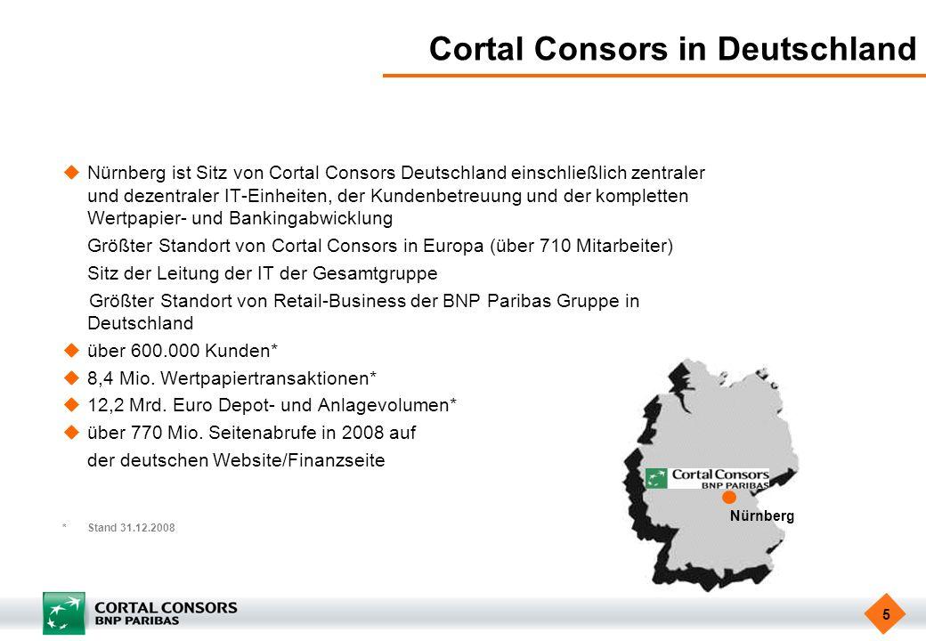 5 Cortal Consors in Deutschland Nürnberg ist Sitz von Cortal Consors Deutschland einschließlich zentraler und dezentraler IT-Einheiten, der Kundenbetr