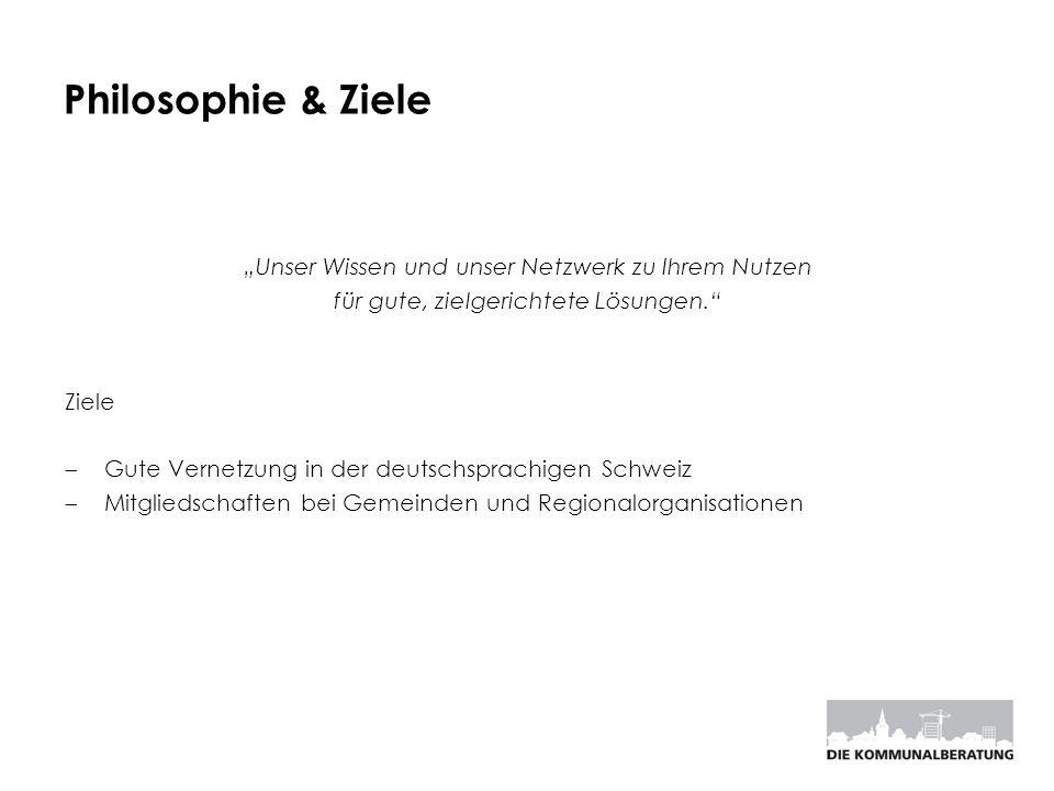 Philosophie & Ziele Unser Wissen und unser Netzwerk zu Ihrem Nutzen für gute, zielgerichtete Lösungen. Ziele Gute Vernetzung in der deutschsprachigen
