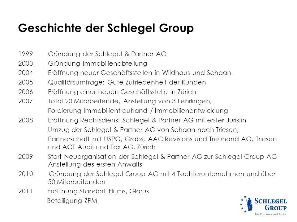 Geschichte der Schlegel Group 1999 Gründung der Schlegel & Partner AG 2003 Gründung Immobilienabteilung 2004Eröffnung neuer Geschäftsstellen in Wildha