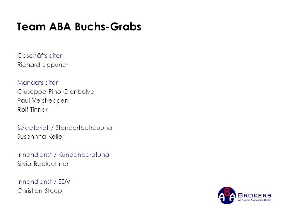 Team ABA Buchs-Grabs Geschäftsleiter Richard Lippuner Mandatsleiter Giuseppe Pino Gianbalvo Paul Verstreppen Rolf Tinner Sekretariat / Standortbetreuu