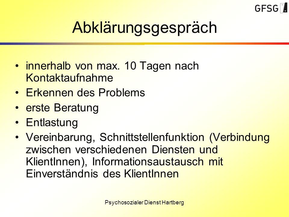 Psychosozialer Dienst Hartberg Abklärungsgespräch innerhalb von max. 10 Tagen nach Kontaktaufnahme Erkennen des Problems erste Beratung Entlastung Ver