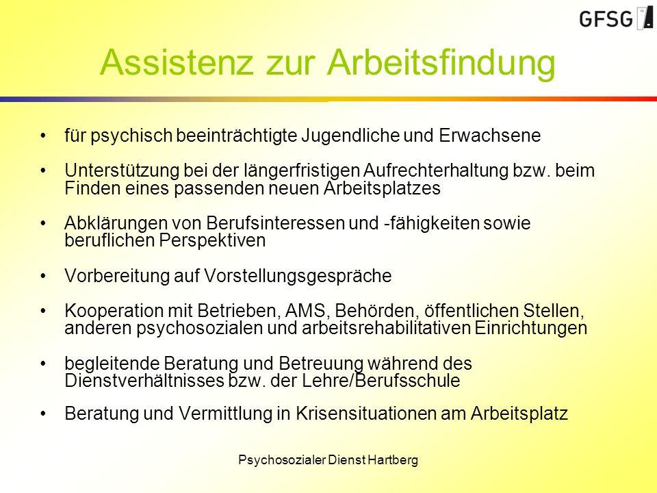 Assistenz zur Arbeitsfindung für psychisch beeinträchtigte Jugendliche und Erwachsene Unterstützung bei der längerfristigen Aufrechterhaltung bzw. bei