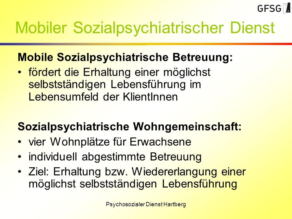 Psychosozialer Dienst Hartberg Mobiler Sozialpsychiatrischer Dienst Mobile Sozialpsychiatrische Betreuung: fördert die Erhaltung einer möglichst selbs