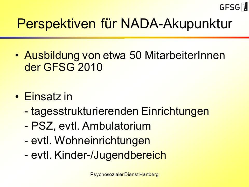 Perspektiven für NADA-Akupunktur Ausbildung von etwa 50 MitarbeiterInnen der GFSG 2010 Einsatz in - tagesstrukturierenden Einrichtungen - PSZ, evtl. A