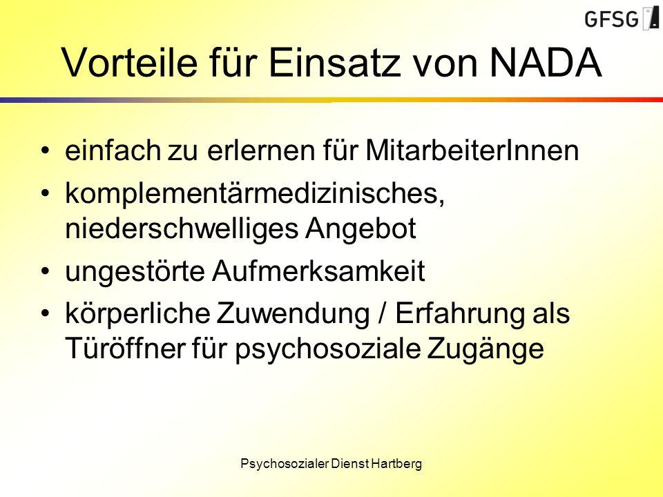 Psychosozialer Dienst Hartberg Vorteile für Einsatz von NADA einfach zu erlernen für MitarbeiterInnen komplementärmedizinisches, niederschwelliges Ang