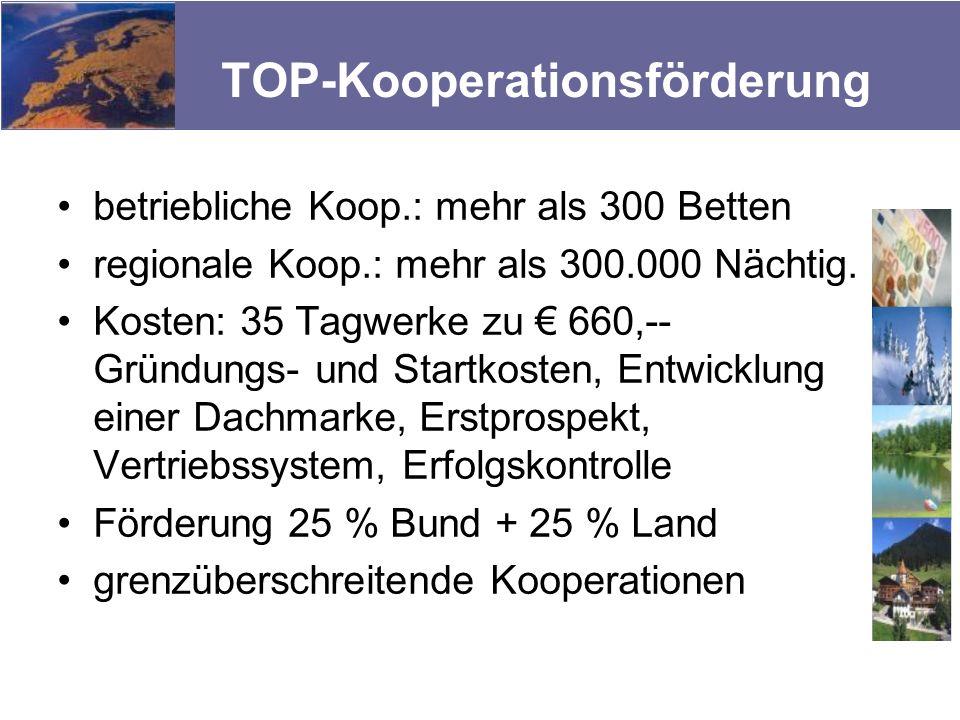 TOP-Kooperationsförderung betriebliche Koop.: mehr als 300 Betten regionale Koop.: mehr als 300.000 Nächtig. Kosten: 35 Tagwerke zu 660,-- Gründungs-