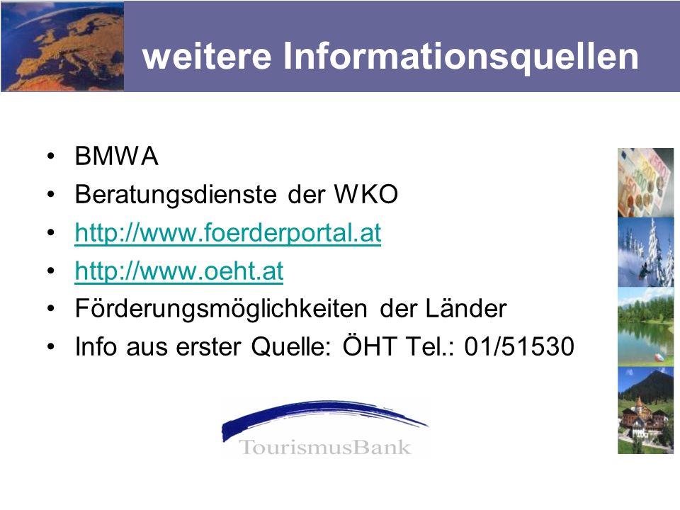 weitere Informationsquellen BMWA Beratungsdienste der WKO http://www.foerderportal.at http://www.oeht.at Förderungsmöglichkeiten der Länder Info aus e