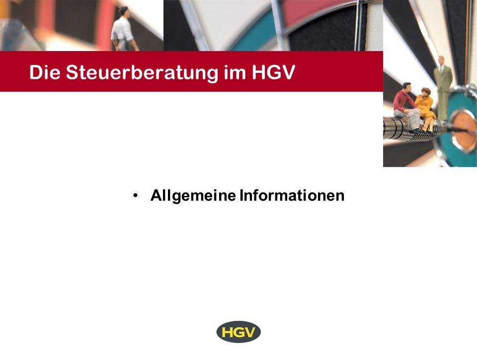 Die Steuerberatung im HGV Allgemeine Informationen