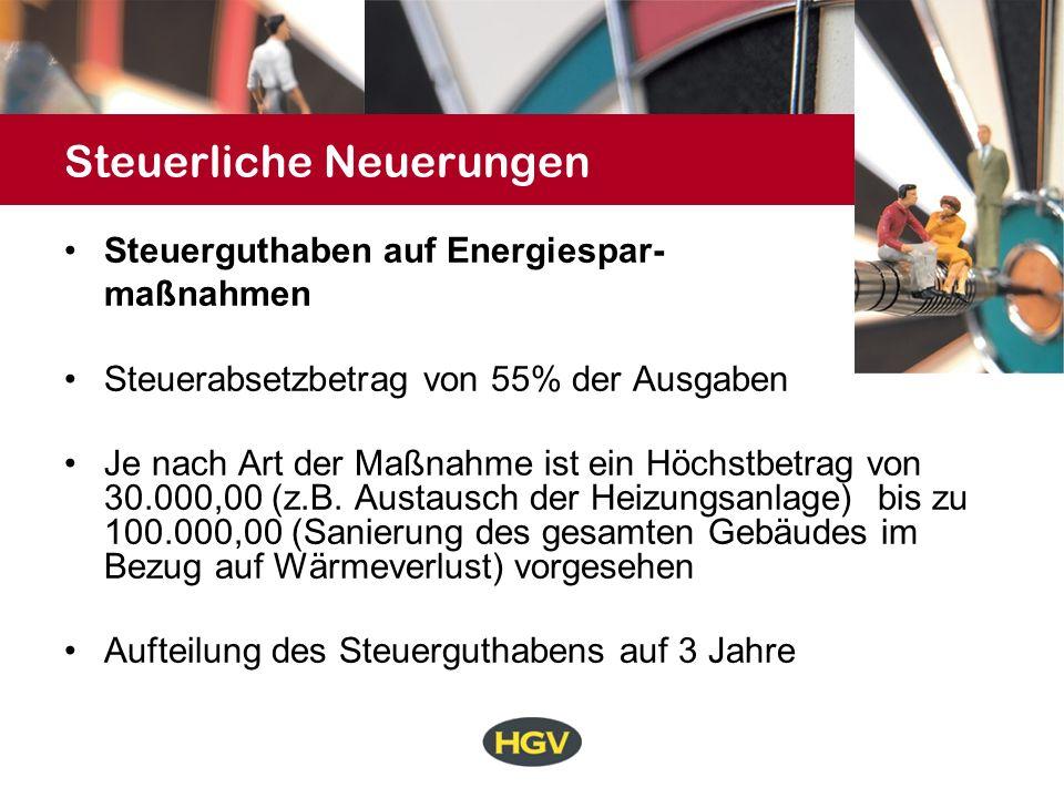 Steuerliche Neuerungen Steuerguthaben auf Energiespar- maßnahmen Steuerabsetzbetrag von 55% der Ausgaben Je nach Art der Maßnahme ist ein Höchstbetrag von 30.000,00 (z.B.