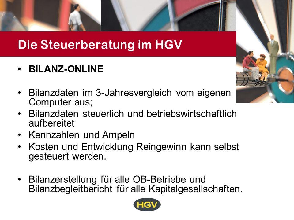 Die Steuerberatung im HGV BILANZ-ONLINE Bilanzdaten im 3-Jahresvergleich vom eigenen Computer aus; Bilanzdaten steuerlich und betriebswirtschaftlich a