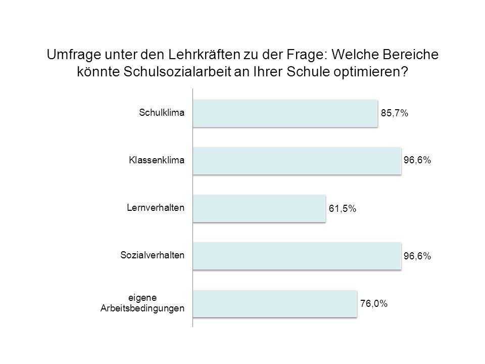 Umfrage unter den Lehrkräften zu der Frage: Welche Bereiche könnte Schulsozialarbeit an Ihrer Schule optimieren?