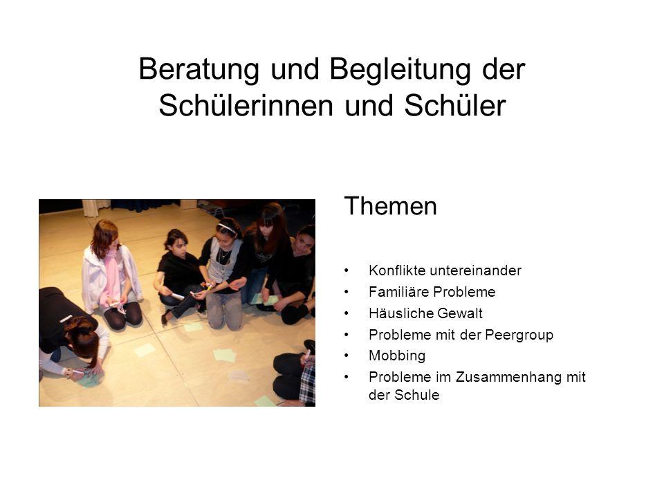 Beratung und Begleitung der Schülerinnen und Schüler Themen Konflikte untereinander Familiäre Probleme Häusliche Gewalt Probleme mit der Peergroup Mobbing Probleme im Zusammenhang mit der Schule