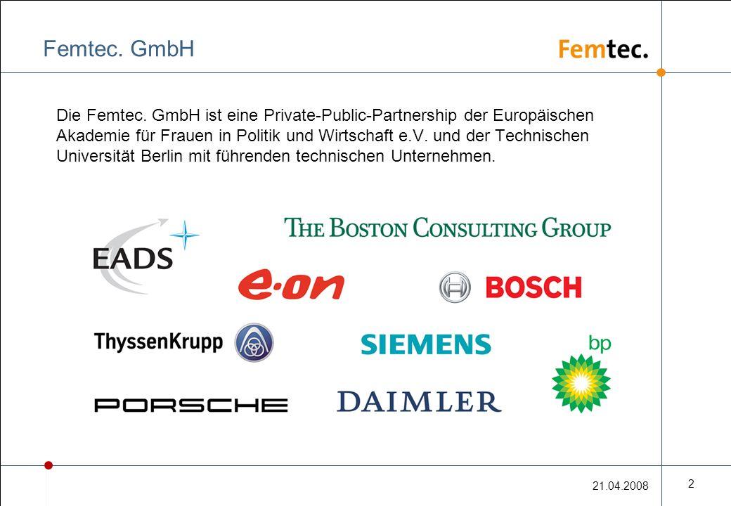 21.04.2008 2 Femtec. GmbH Die Femtec.