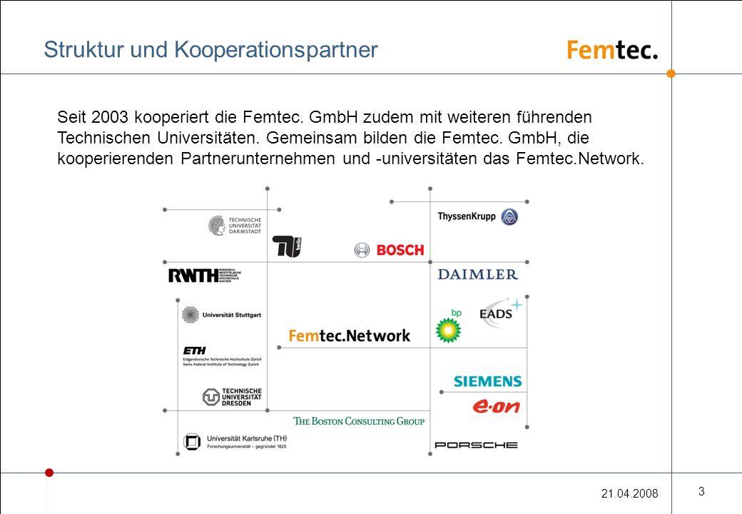 21.04.2008 3 Struktur und Kooperationspartner Seit 2003 kooperiert die Femtec.