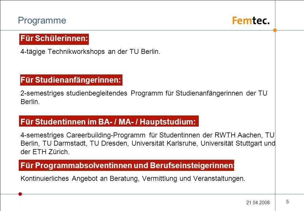 21.04.2008 5 Programme Für Schülerinnen: 4-tägige Technikworkshops an der TU Berlin.