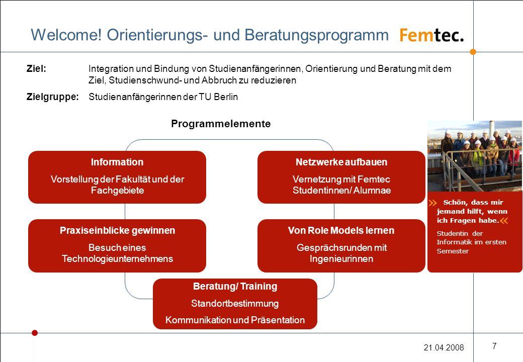 21.04.2008 7 Welcome! Orientierungs- und Beratungsprogramm Ziel: Integration und Bindung von Studienanfängerinnen, Orientierung und Beratung mit dem Z