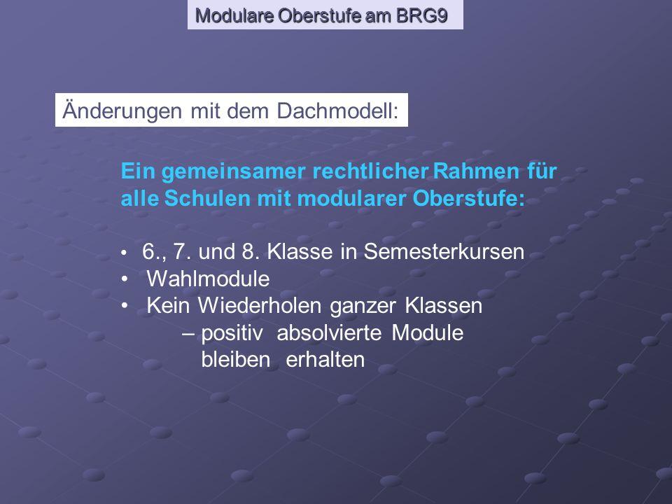 Modulare Oberstufe am BRG9 Änderungen mit dem Dachmodell: Ein gemeinsamer rechtlicher Rahmen für alle Schulen mit modularer Oberstufe: 6., 7. und 8. K