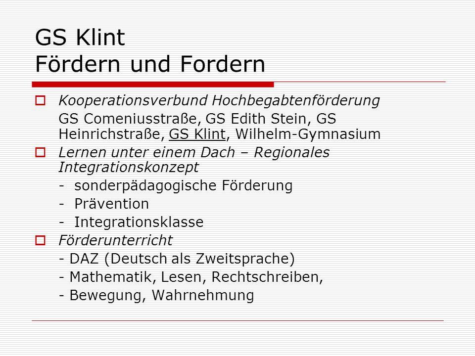 GS Klint Fördern und Fordern Kooperationsverbund Hochbegabtenförderung GS Comeniusstraße, GS Edith Stein, GS Heinrichstraße, GS Klint, Wilhelm-Gymnasi
