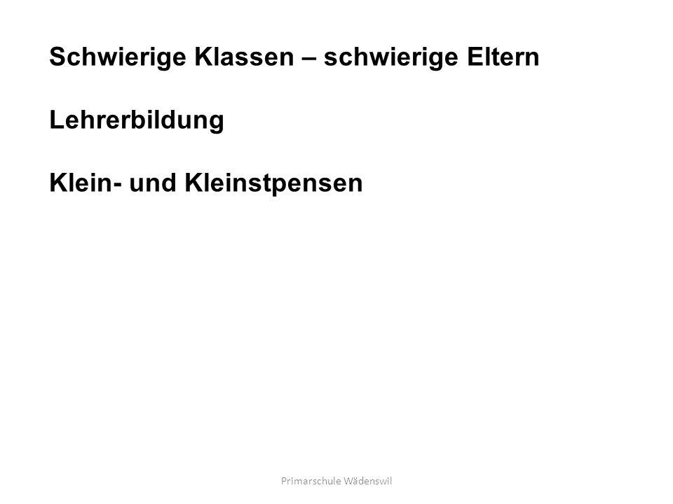 Primarschule Wädenswil Schwierige Klassen – schwierige Eltern Lehrerbildung Klein- und Kleinstpensen