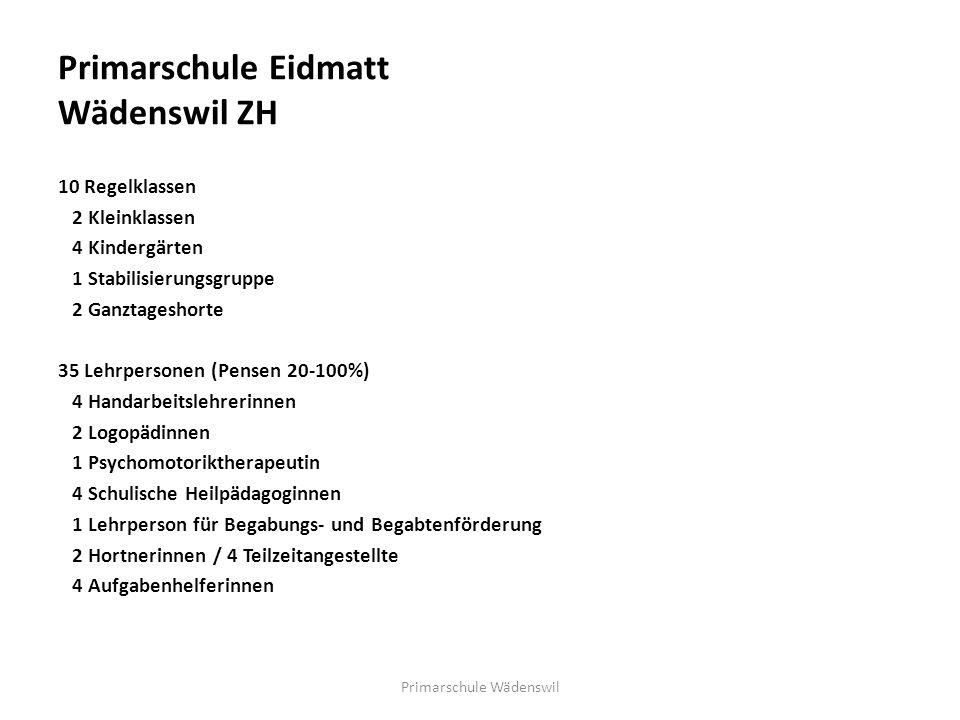 Primarschule Eidmatt Wädenswil ZH 10 Regelklassen 2 Kleinklassen 4 Kindergärten 1 Stabilisierungsgruppe 2 Ganztageshorte 35 Lehrpersonen (Pensen 20-10