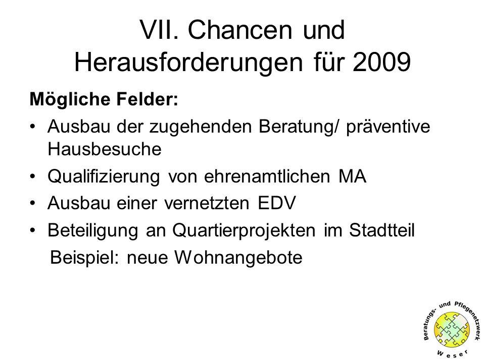 VII. Chancen und Herausforderungen für 2009 Mögliche Felder: Ausbau der zugehenden Beratung/ präventive Hausbesuche Qualifizierung von ehrenamtlichen