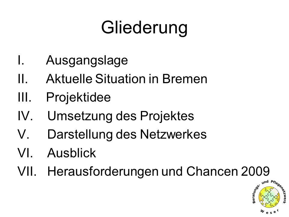 Gliederung I.Ausgangslage II. Aktuelle Situation in Bremen III.