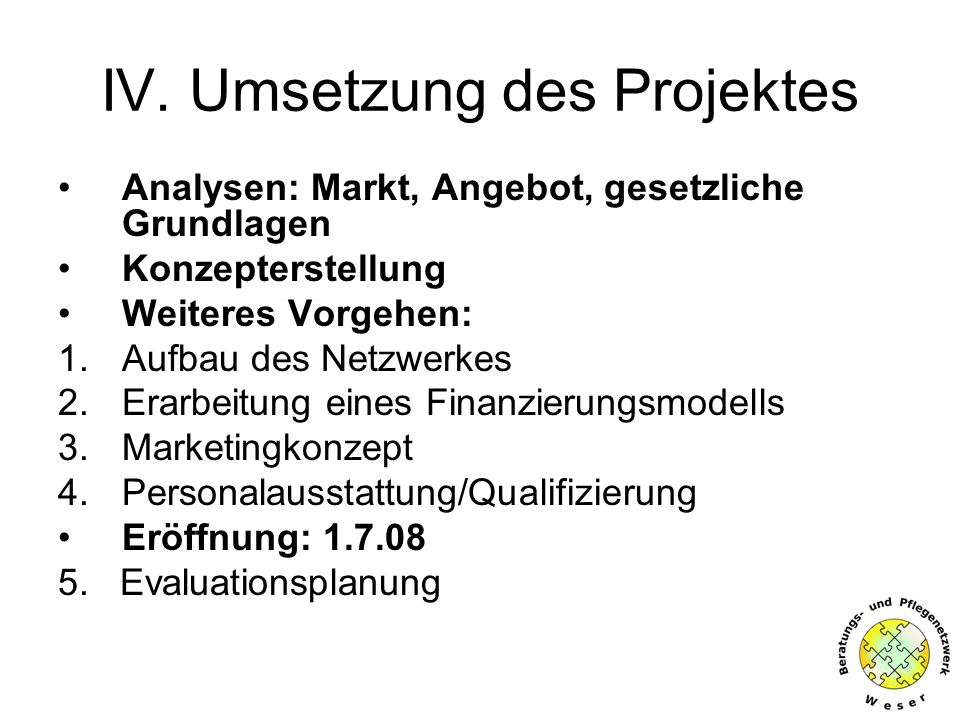 IV. Umsetzung des Projektes Analysen: Markt, Angebot, gesetzliche Grundlagen Konzepterstellung Weiteres Vorgehen: 1.Aufbau des Netzwerkes 2.Erarbeitun