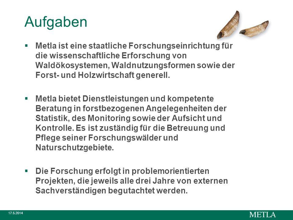 17.5.2014 Aufgaben Metla ist eine staatliche Forschungseinrichtung für die wissenschaftliche Erforschung von Waldökosystemen, Waldnutzungsformen sowie der Forst- und Holzwirtschaft generell.