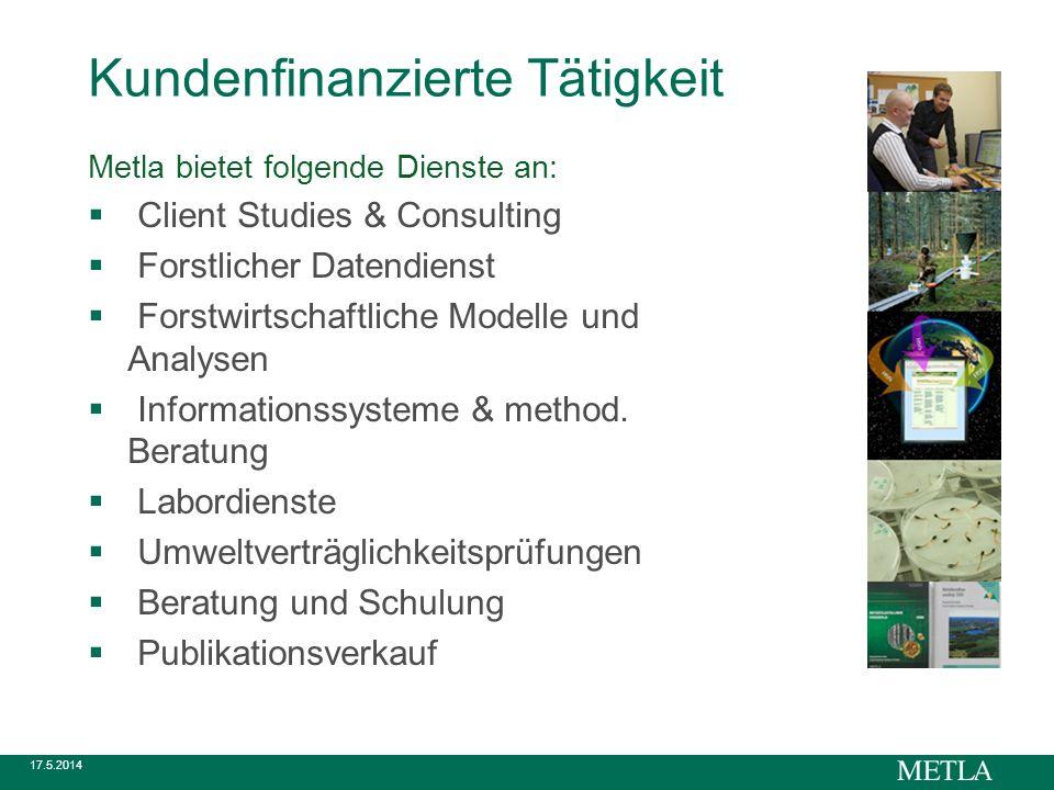 17.5.2014 Kundenfinanzierte Tätigkeit Metla bietet folgende Dienste an: Client Studies & Consulting Forstlicher Datendienst Forstwirtschaftliche Modelle und Analysen Informationssysteme & method.