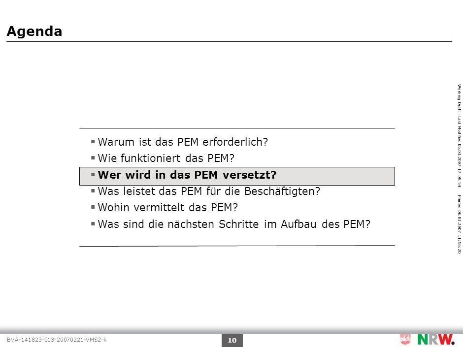 Working Draft - Last Modified 06.03.2007 17:08:54 Printed 06.03.2007 11:56:20 BVA-141823-013-20070221-VMS2-k 10 Agenda Warum ist das PEM erforderlich?