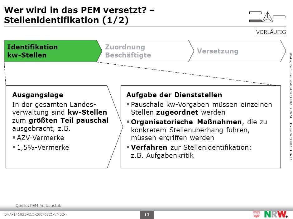 Working Draft - Last Modified 06.03.2007 17:08:54 Printed 06.03.2007 11:56:20 BVA-141823-013-20070221-VMS2-k 12 Quelle:PEM-Aufbaustab Wer wird in das PEM versetzt.