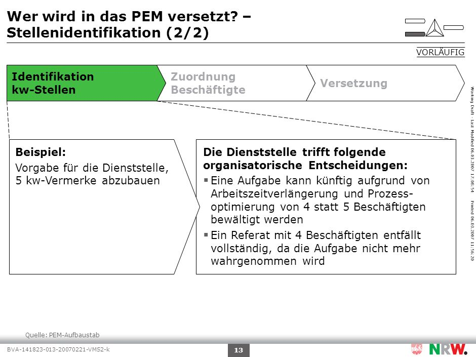 Working Draft - Last Modified 06.03.2007 17:08:54 Printed 06.03.2007 11:56:20 BVA-141823-013-20070221-VMS2-k 13 Identifikation kw-Stellen Zuordnung Be
