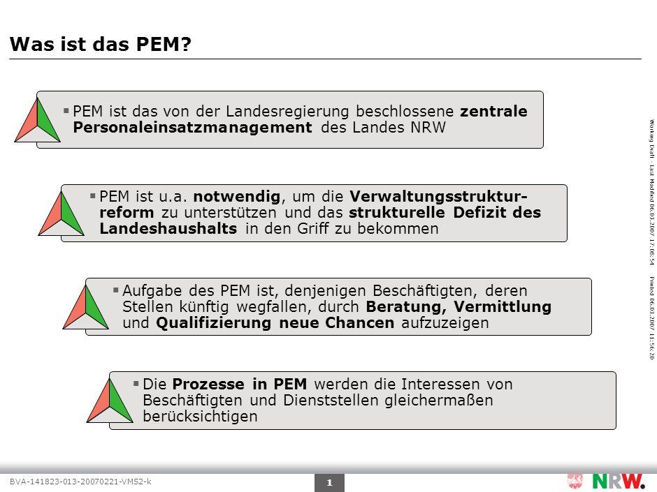 Working Draft - Last Modified 06.03.2007 17:08:54 Printed 06.03.2007 11:56:20 BVA-141823-013-20070221-VMS2-k 2 Agenda Warum ist das PEM erforderlich.