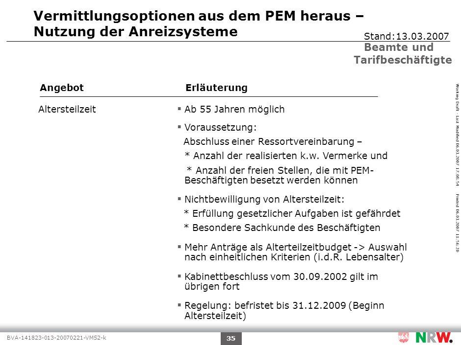 Working Draft - Last Modified 06.03.2007 17:08:54 Printed 06.03.2007 11:56:20 BVA-141823-013-20070221-VMS2-k 35 Vermittlungsoptionen aus dem PEM herau
