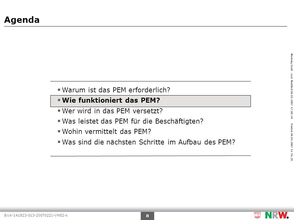 Working Draft - Last Modified 06.03.2007 17:08:54 Printed 06.03.2007 11:56:20 BVA-141823-013-20070221-VMS2-k 9 Quelle:PEM-Aufbaustab Auswahl der Beschäf- tigten, die in PEM versetzt werden Zukünftiger Einsatz Aufgabe RessortsAufgabe PEM Qualifizierung Ver- mitt- lung Akqui- sition Meldung offener Stellen an das PEM Wie funktioniert das PEM.