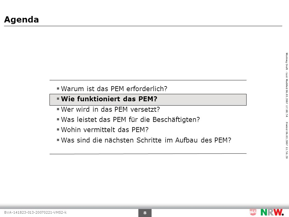 Working Draft - Last Modified 06.03.2007 17:08:54 Printed 06.03.2007 11:56:20 BVA-141823-013-20070221-VMS2-k 19 Quelle:PEM-Aufbaustab Wer wird in das PEM versetzt.