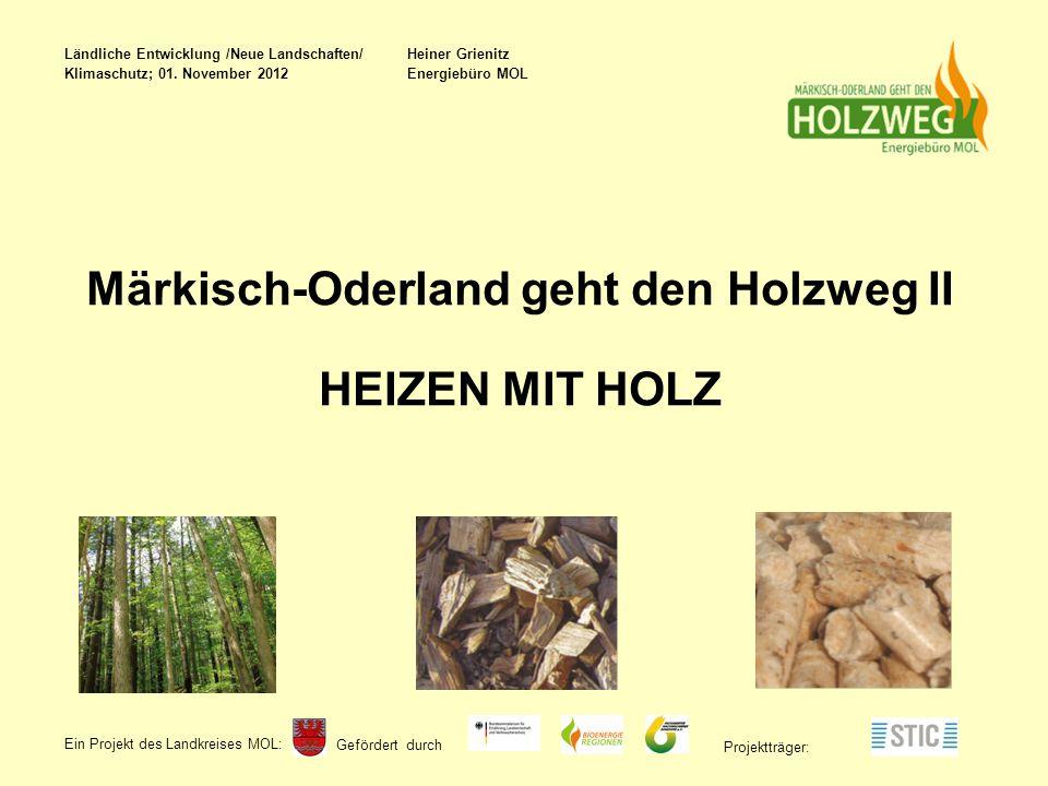 Gefördert durch Ein Projekt des Landkreises MOL : Projektträger: Märkisch-Oderland geht den Holzweg II HEIZEN MIT HOLZ Ländliche Entwicklung /Neue Landschaften/ Heiner Grienitz Klimaschutz; 01.